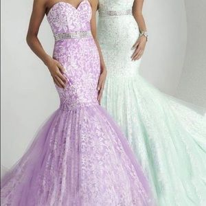 Lavender Mermaid Gown with Jeweled Waist